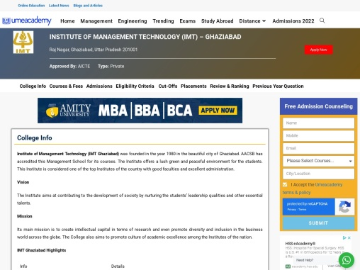 Institute of Management Technology (IMT) – Ghaziabad | Fees