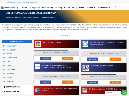 Top Management Colleges in India | Admissions, Fees, Courses