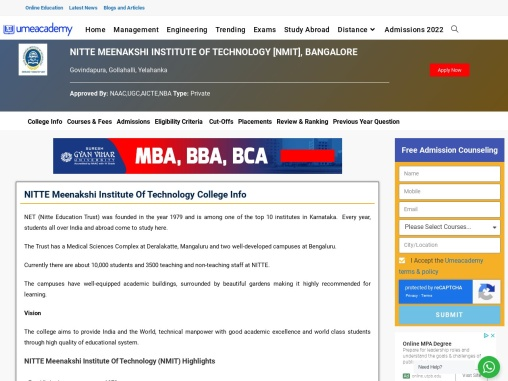 NITTE Meenakshi Institute of Technology (NMIT) | Admissions
