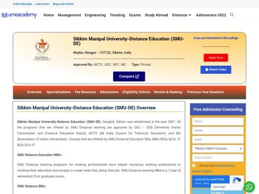 SMU Distance Education MBA/BBA | Courses | Fees, Admission