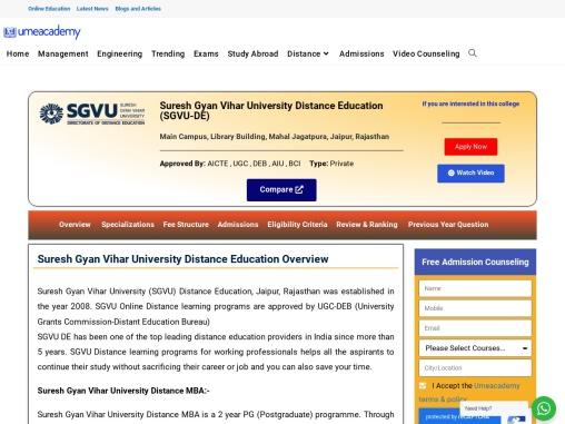 Suresh Gyan Vihar University (SGVU) Distance Education