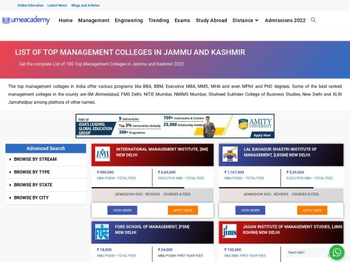 Top Management Colleges In Jammu and Kashmir | Ranking