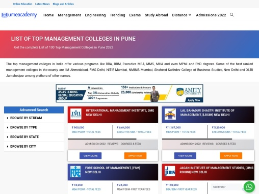 Top Management Colleges In Pune | Fees, Cutoff, Placements