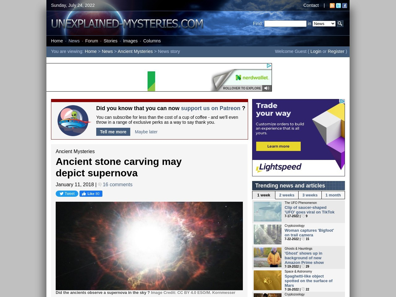 Ancient stone carving may depict supernova
