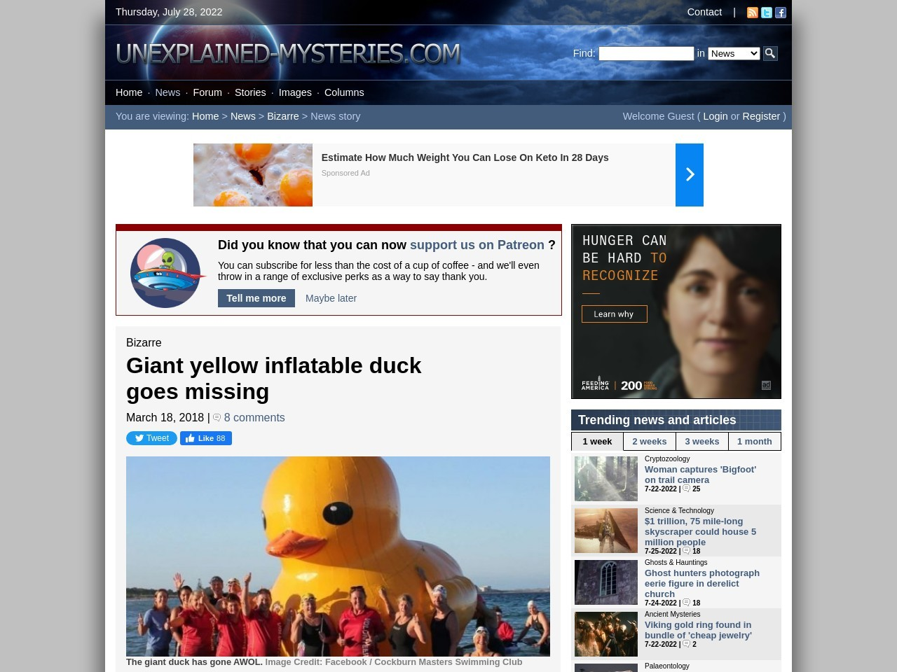 Giant yellow inflatable duck goes missing