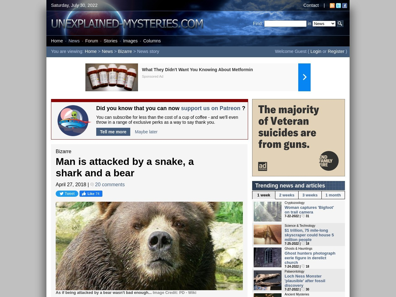 Man is attacked by a snake, a shark and a bear