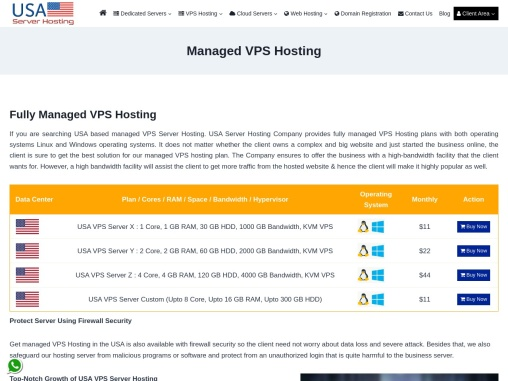 Managed USA VPS Server Hosting Plans