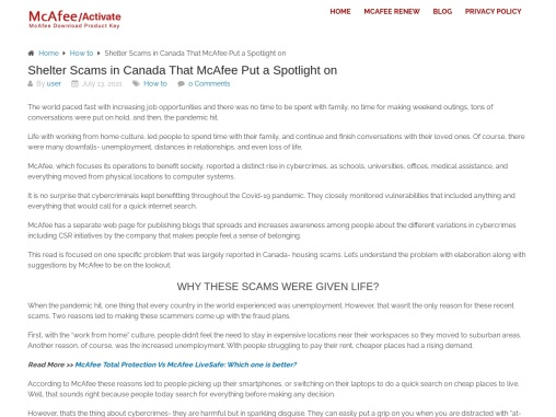 Shelter Scams in Canada That McAfee Put a Spotlight on