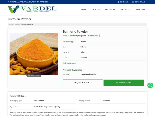 Turmeric Powder Suppliers in India