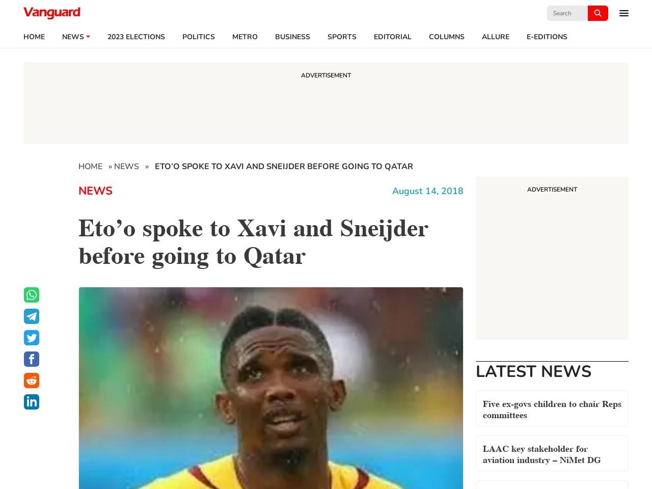 Eto'o spoke to Xavi and Sneijder before going to Qatar