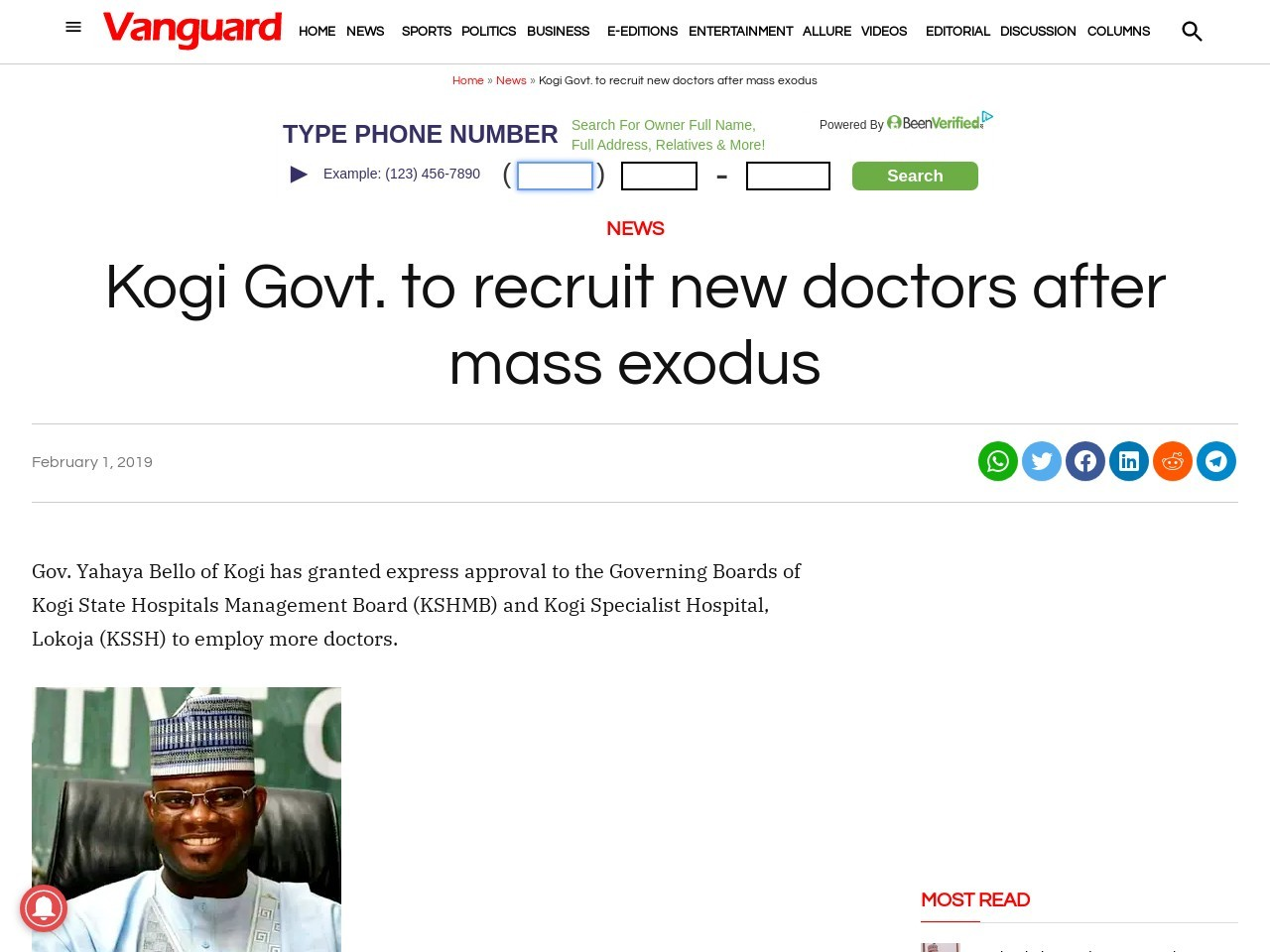 Kogi Govt. to recruit new doctors after mass exodus
