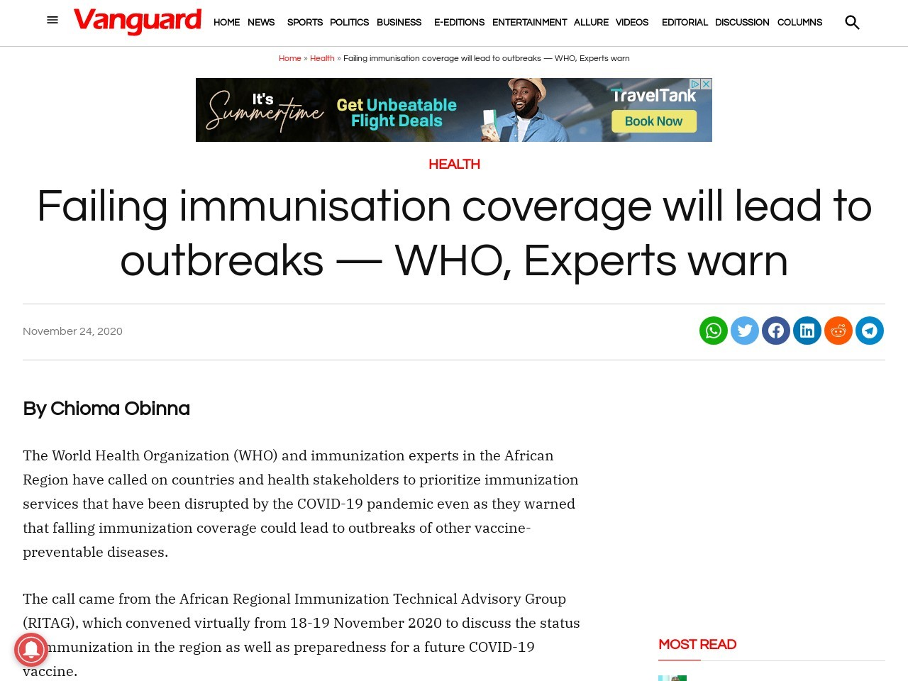 Failing immunisation coverage will lead to outbreaks — WHO