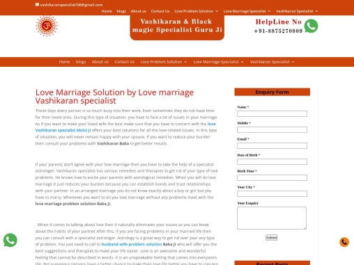 Love Marriage Vashikaran specialist – Vashikaran Specialist Astrologer