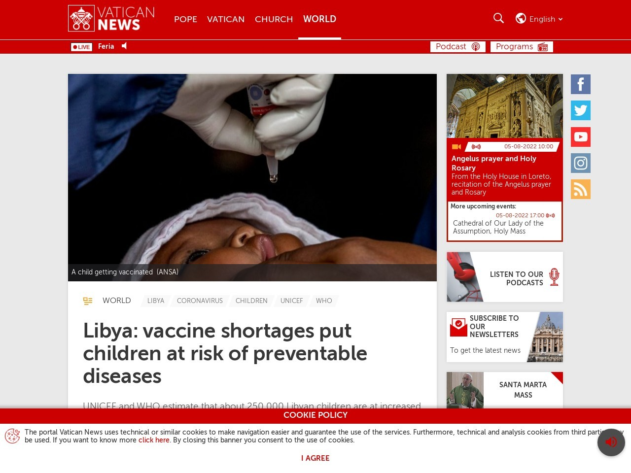 Libya: vaccine shortages put children at risk of preventable diseases - Vatican News