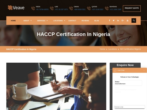 HACCP Certification Consulting Services in Nigeria   Veave
