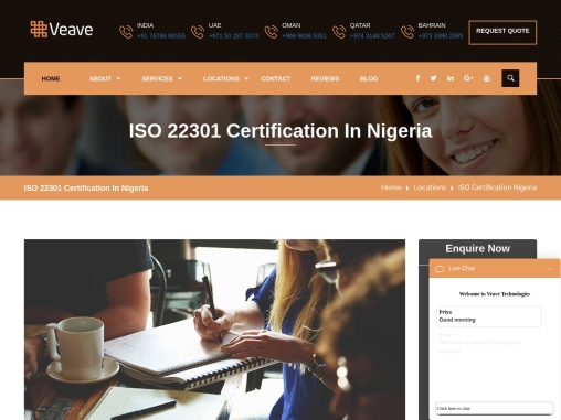 ISO 22301 Certification Consulting Company in Nigeria   Veave