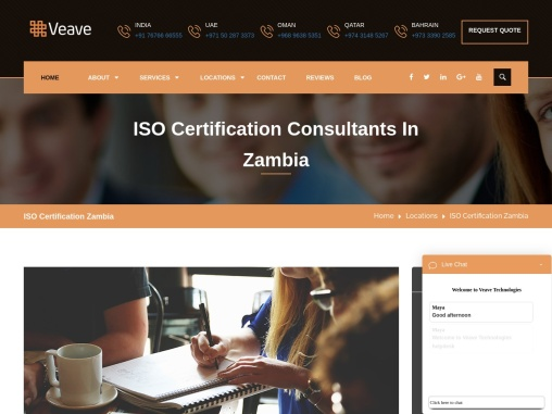ISO, CE Mark, VAPT & HACCP Certification Company in Zambia | Veave