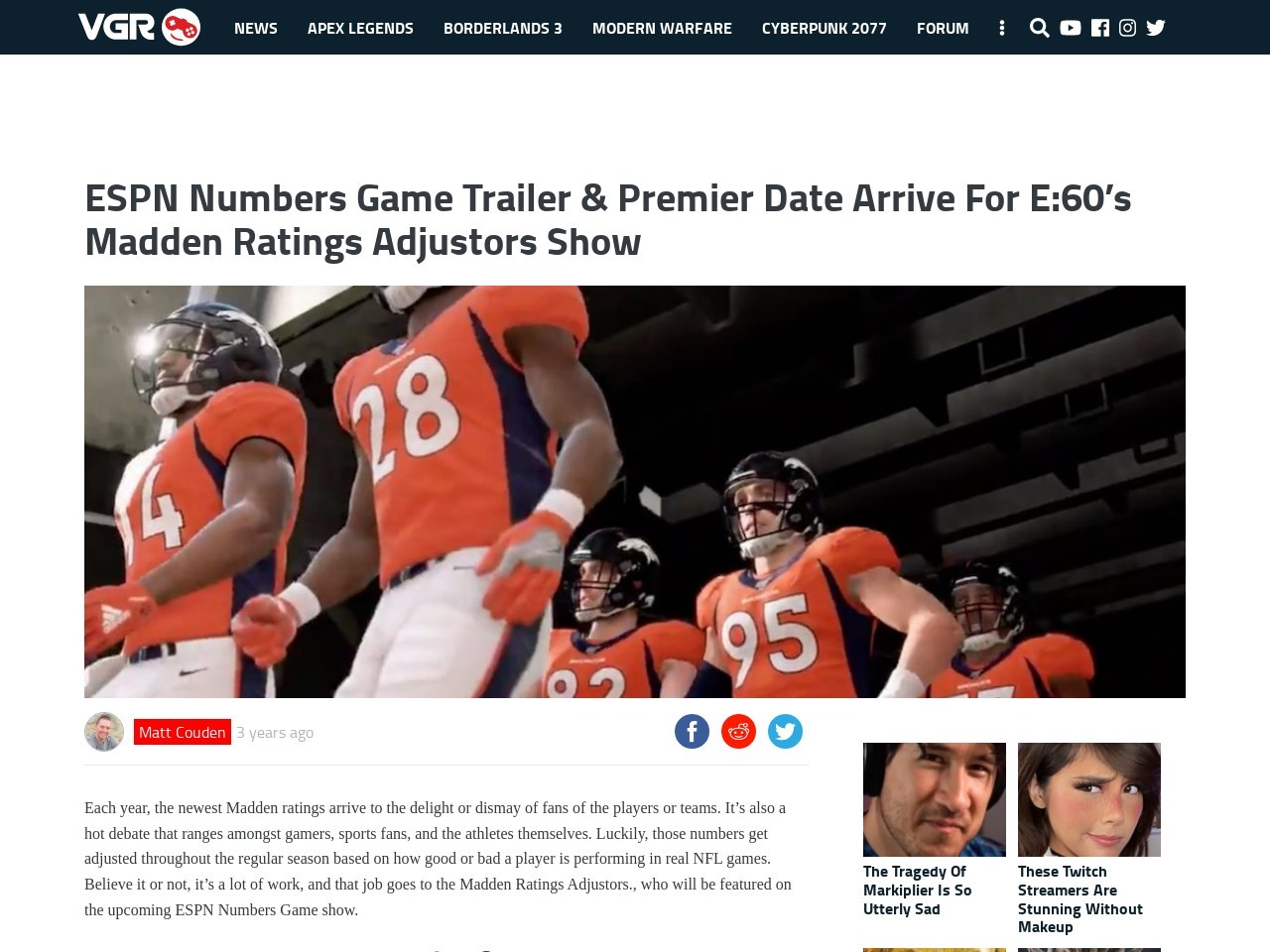 ESPN Numbers Game Trailer & Premier Date Arrive For E:60's Madden Ratings Adjustors Show