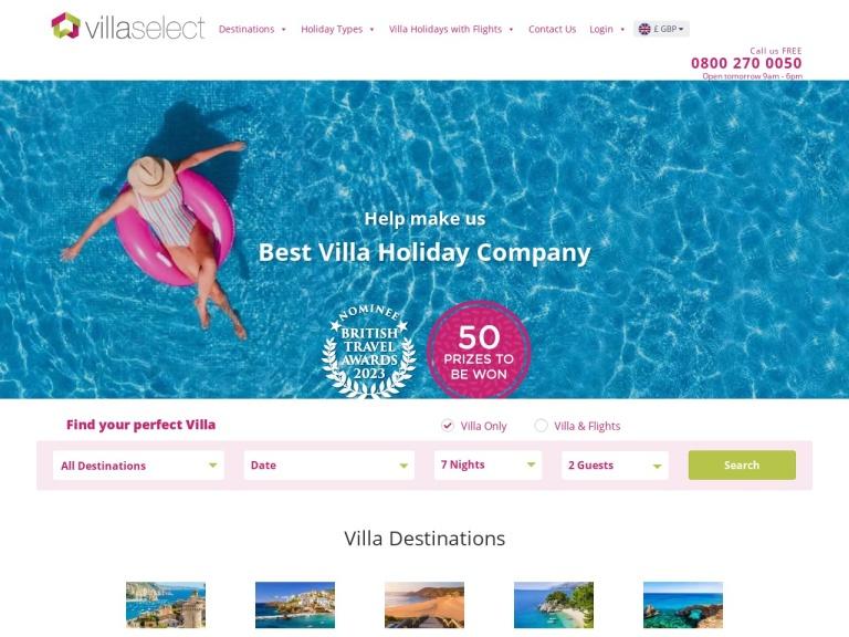 Villa Select Discount Codes screenshot
