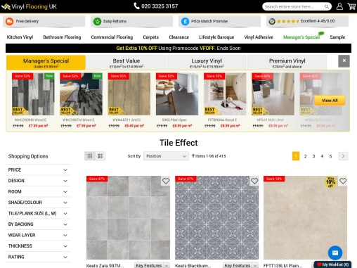 Bring an aura of modernity to your living space! Buy Vinyl Tile Effect Flooring!