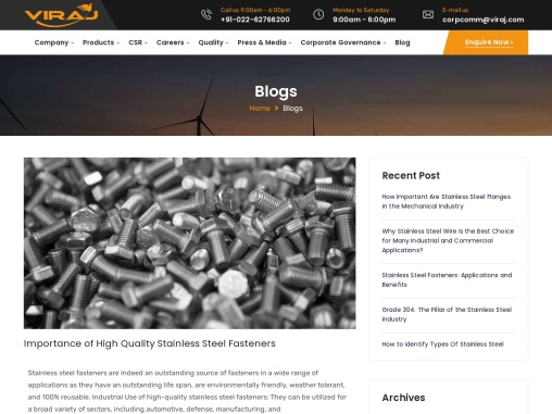 Importance of High Quality Stainless Steel Fasteners