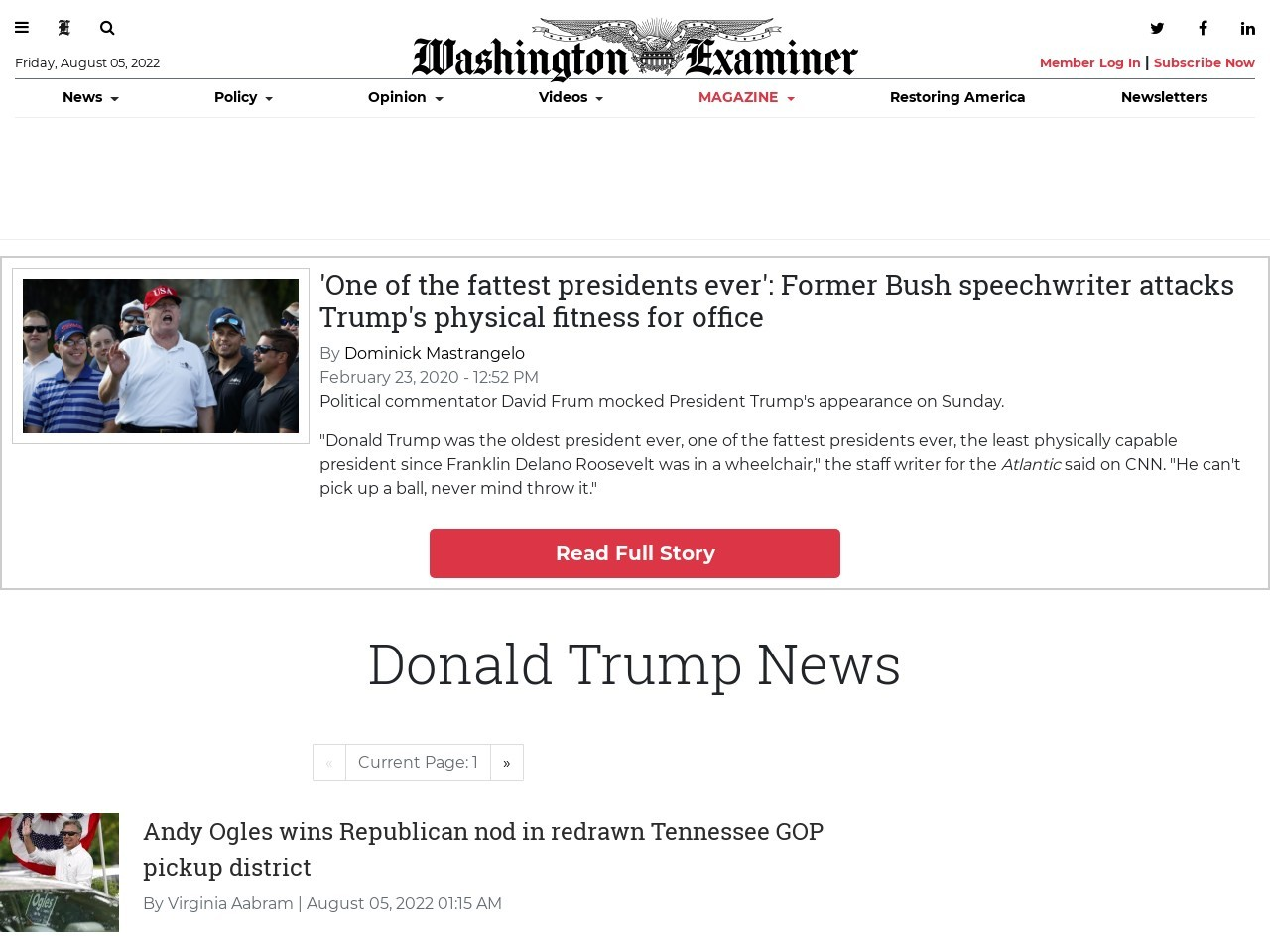'One of the fattest presidents ever': David Frum attacks Trump's physical fitness for office