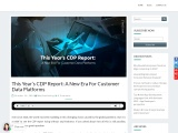 This Year's CDP Report: A New Era For Customer Data Platforms
