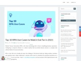 Top 10 RPA Use Cases to Watch Out For in 2021