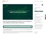 ROI on Digital Transformation Solutions