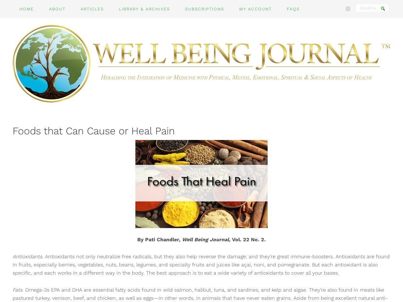 Foods that Can Cause or Heal Pain – – Well Being Journal