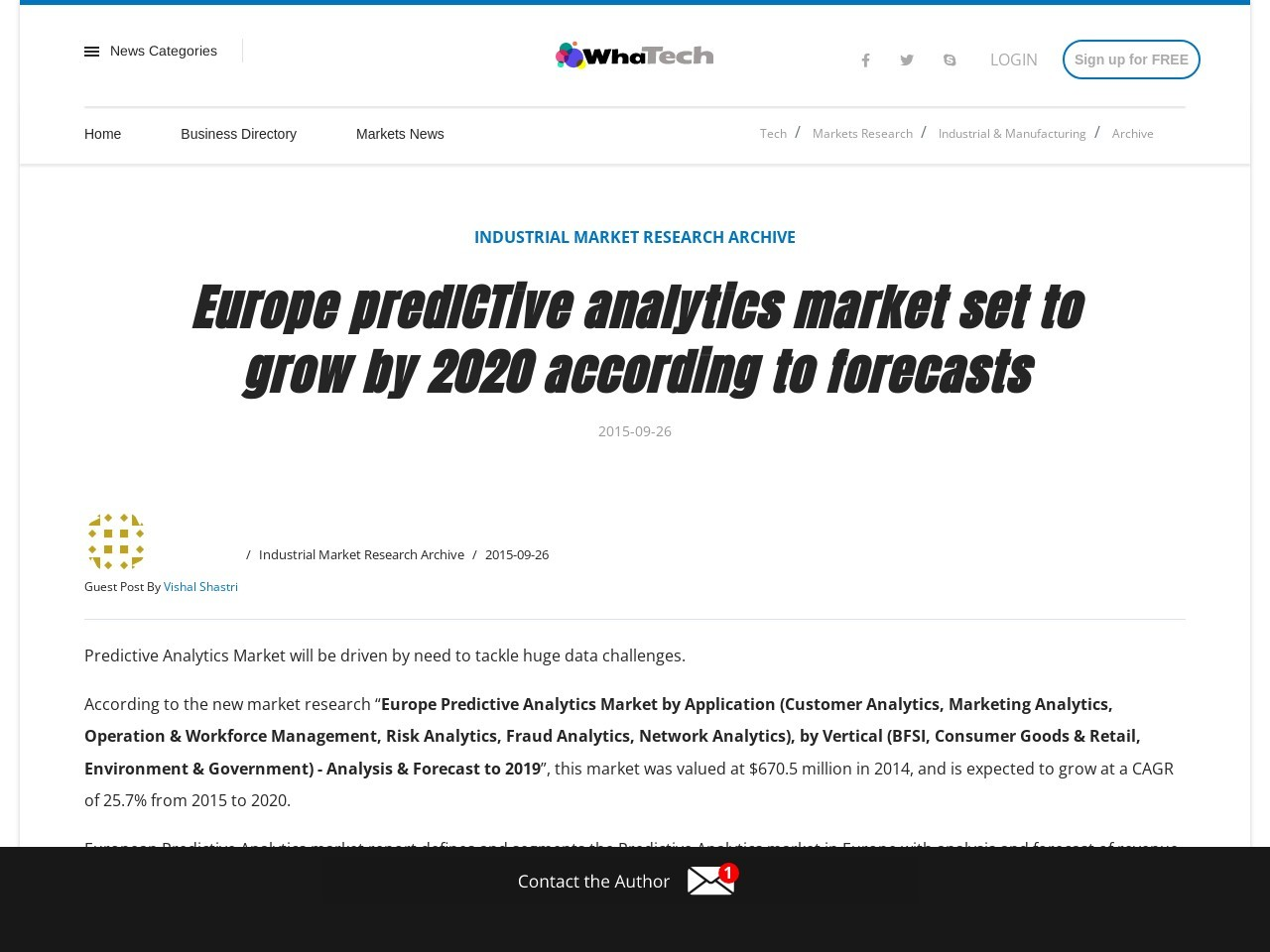 Europe predICTive analytics market set to grow by 2020 according to forecasts