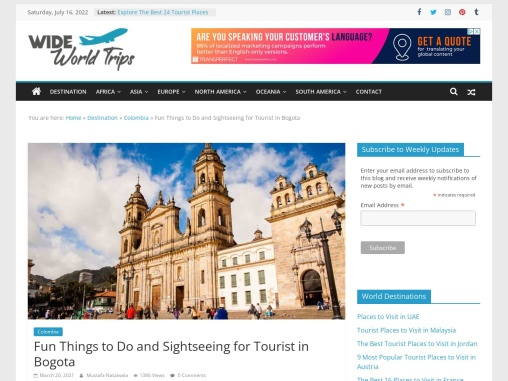 Famous Tourist Spots to See in Bogota