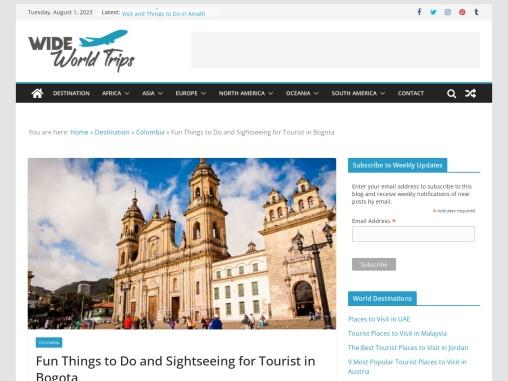 Top Tourist Places to Visit in Bogota