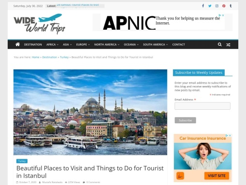 Sightseeing Places to Visit in Istanbul