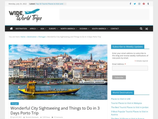 3 Days Trips Itinerary for Porto, Portugal