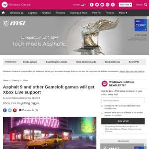 Asphalt 9 and other Gameloft games will get Xbox Live support | Windows Central