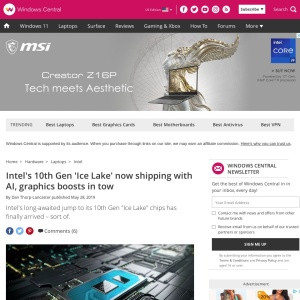 Intel's 10th Gen 'Ice Lake' now shipping with AI, graphics boosts in tow | Windows Central