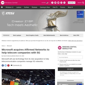 Microsoft acquires Affirmed Networks to help telecom companies with 5G | Windows Central