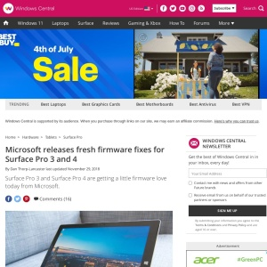 Microsoft releases fresh firmware fixes for Surface Pro 3 and 4 | Windows Central