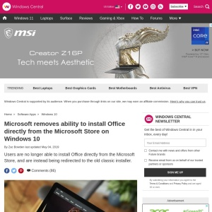 Microsoft removes ability to install Office directly from the Microsoft Store on Windows 10 | Windows Central