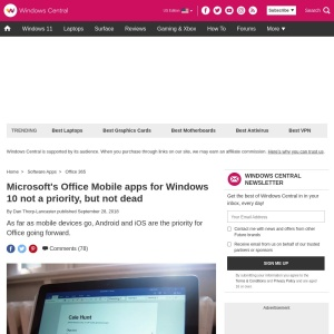 Microsoft's Office Mobile apps for Windows 10 not a priority, but not dead | Windows Central
