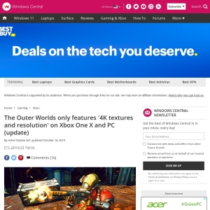 The Outer Worlds only features '4K textures and resolution' on Xbox One X and PC (update)   Windows Central