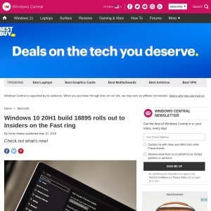 Windows 10 20H1 build 18895 rolls out to Insiders on the Fast ring | Windows Central