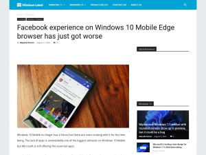 Facebook experience on Windows 10 Mobile Edge browser has just got worse