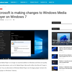 Microsoft is making changes to Windows Media Player on Windows 7
