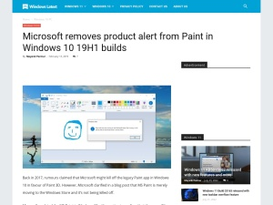 Microsoft removes product alert from Paint in Windows 10 19H1 builds
