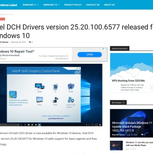 Intel DCH Drivers version 25.20.100.6577 released for Windows 10