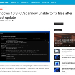 Windows 10 SFC /scannow unable to fix files after latest update