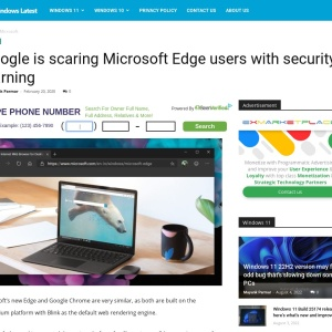Google is scaring Microsoft Edge users with security warning