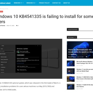 Windows 10 KB4541335 is failing to install for some users